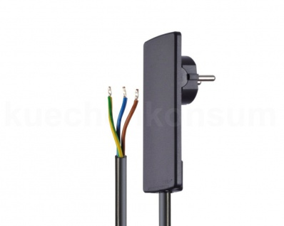 EVOline Plug Flachstecker mit Anschlusskabel Raumsparstecker Design schwarz