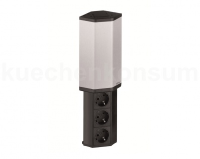 Schulte EVOline® V-Port 3fach senkrecht Edelstahl Steckdosenelement Power Port