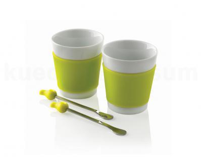 Kaffeetasse Set Early Bird Keramik weiß lindgrün Coffee 2 Kaffeelöffel XD Design