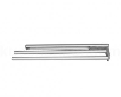 Handtuchhalter ausziehbar Handtuchauszug 465mm Aluminium Silber 2 Handtuchstange