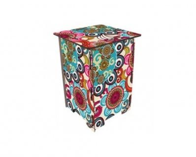 Mandala bunt Photohocker Beistelltisch Steighilfe Tritt Hocker Nachttisch Sitz