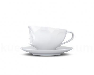 Kaffee-Tasse Untertasse Henkel Motiv Och Bitte weiß Teetasse Gesichtstasse TV - Vorschau 3
