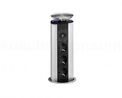 Evoline PowerPort Steckdose LED blau Tischsteckdose Versenksteckdose Nightlight