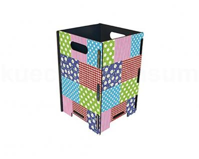 Papierkorb kl. Patchwork Mülleimer Abfalleimer Müllbehälter Abfallsammler Henkel