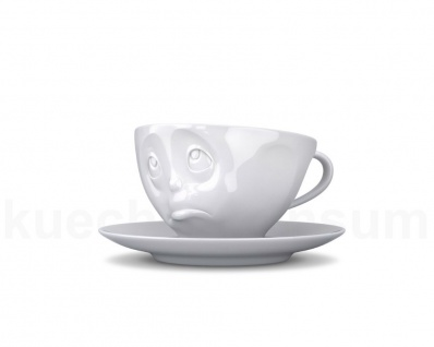 Kaffee-Tasse Untertasse Henkel Motiv Och Bitte weiß Teetasse Gesichtstasse TV