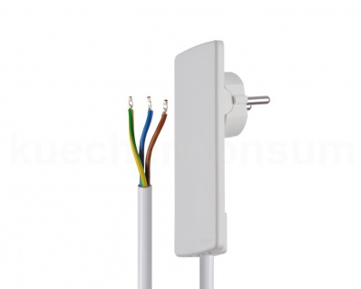 EVOline Plug Flachstecker mit Anschlusskabel Raumsparstecker e-place Design weiß