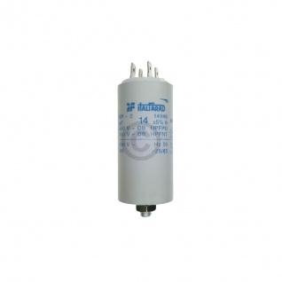 Kondensator 14, 00µF 450V Universal mit Steckfahnen und Befestigungsschraube