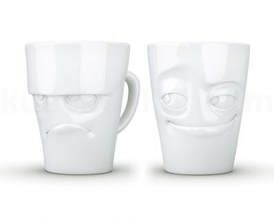 Henkeltasse Set grummelig verschmitzt Gesichtstasse weiß Kaffeebecher Kaffeepott