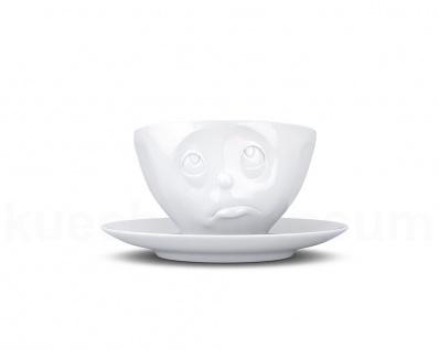 Kaffee-Tasse Untertasse Henkel Motiv Och Bitte weiß Teetasse Gesichtstasse TV - Vorschau 2