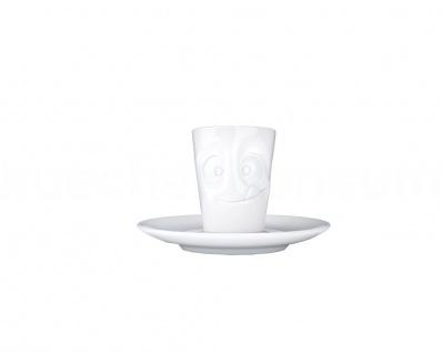 Espressotasse Mug lecker mit Henkel Espresso Tasse Untertasse weiß Fiftyeight