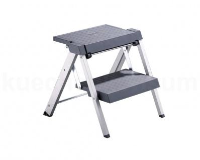 Hailo Step Fix 4400-10 Leiter Trittleiter 2 stufig Klapptritt Küchenleiter Grau