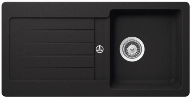 Carysil Granitspüle VEL860 Einbau Granit Küchenspüle SCHWARZ Einbauspüle 860x435