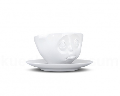 Kaffee-Tasse Untertasse Henkel Motiv Och Bitte weiß Teetasse Gesichtstasse TV - Vorschau 4