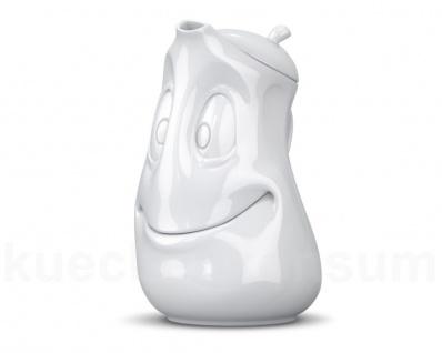 TV Tasse Kanne Gut Drauf 1, 2 L weiß m Deckel Teekanne Kaffeekanne Krug Porzellan
