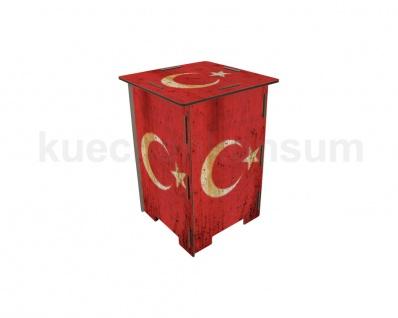 Nachttisch Neu Photohocker Tritt Hocker Flagge Türkei Beistelltisch Steighilfe