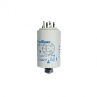 Kondensator 9, 00µF 450V Universal mit Steckfahnen und Befestigungsschraube