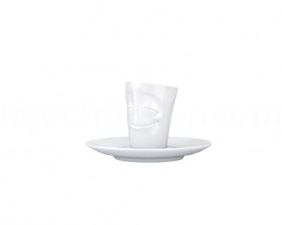 Espressotasse Mug verschmitzt m Henkel Espresso Tasse Untertasse weiß Fiftyeight