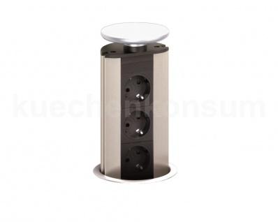 EVOline Port 3fach Steckdose Wippdeckel weiß Tischsteckdose versenkbar E-Tower