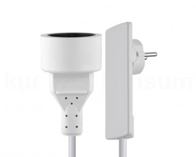 Schulte Evoline Plug Flachstecker mit Anschlusskabel + Schuko-Kupplungsdose weiß