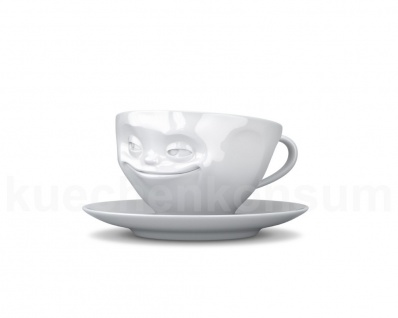 Teetasse Tasse Kaffee-Tasse Kaffeepott grinsend weiß Gesichtstasse TV Tasse