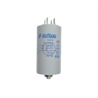 Kondensator 18, 00µF 450V Universal mit Steckfahnen und Befestigungsschraube