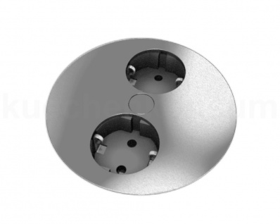 Steckdose edelstahlfarbig Arbeitsplatte Einbau Twist Steckdosenelement 2-fach