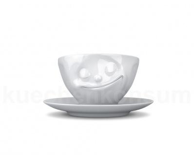 Teetasse Tasse Kaffee-Tasse Kaffeepott glücklich weiß Gesichtstasse TV Tasse