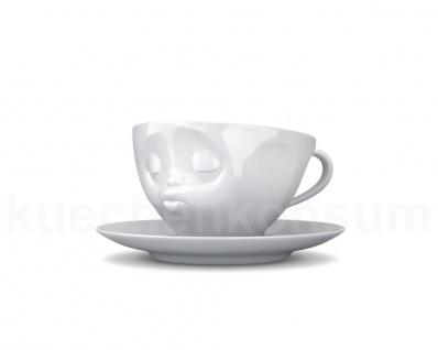 Teetasse Tasse Kaffee-Tasse mit Untertasse küssend weiß Gesichtstasse TV Tasse