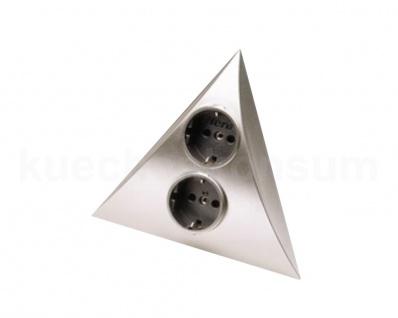 Hera 2-fach Ecksteckdose Luxor Steckdosendreieck edelstahlfarbig Dreieckstrombox
