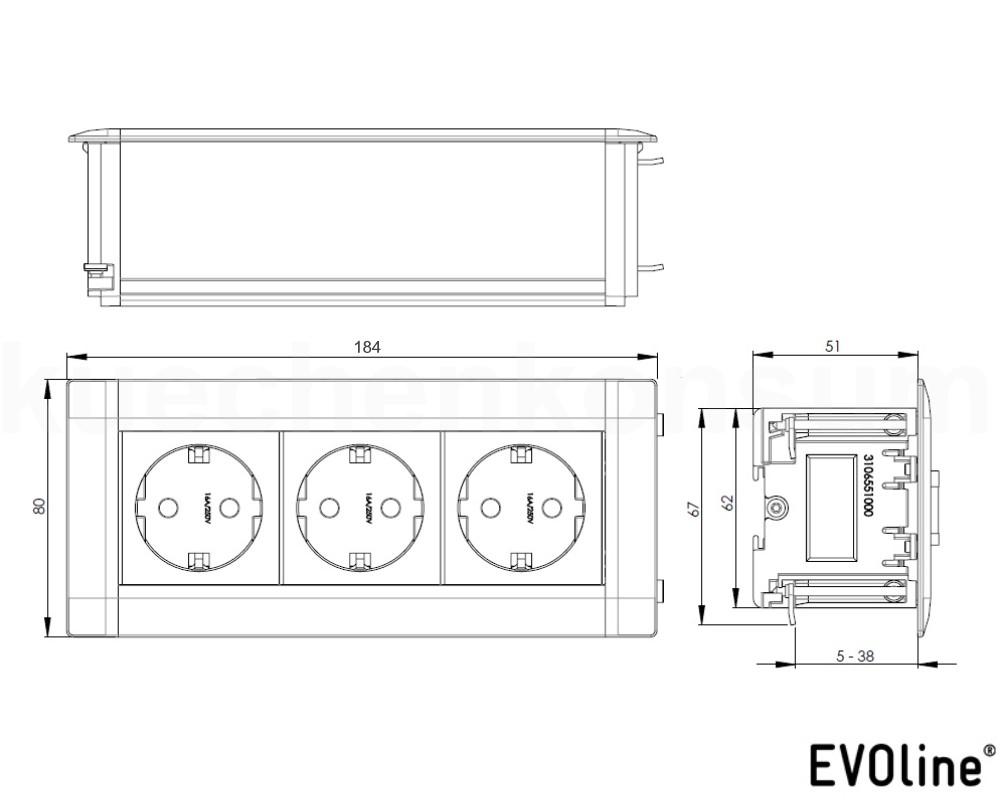 evoline u dock einbau steckdose 3 fach klappdeckelinselsteckdose tischsteckdose kaufen bei. Black Bedroom Furniture Sets. Home Design Ideas