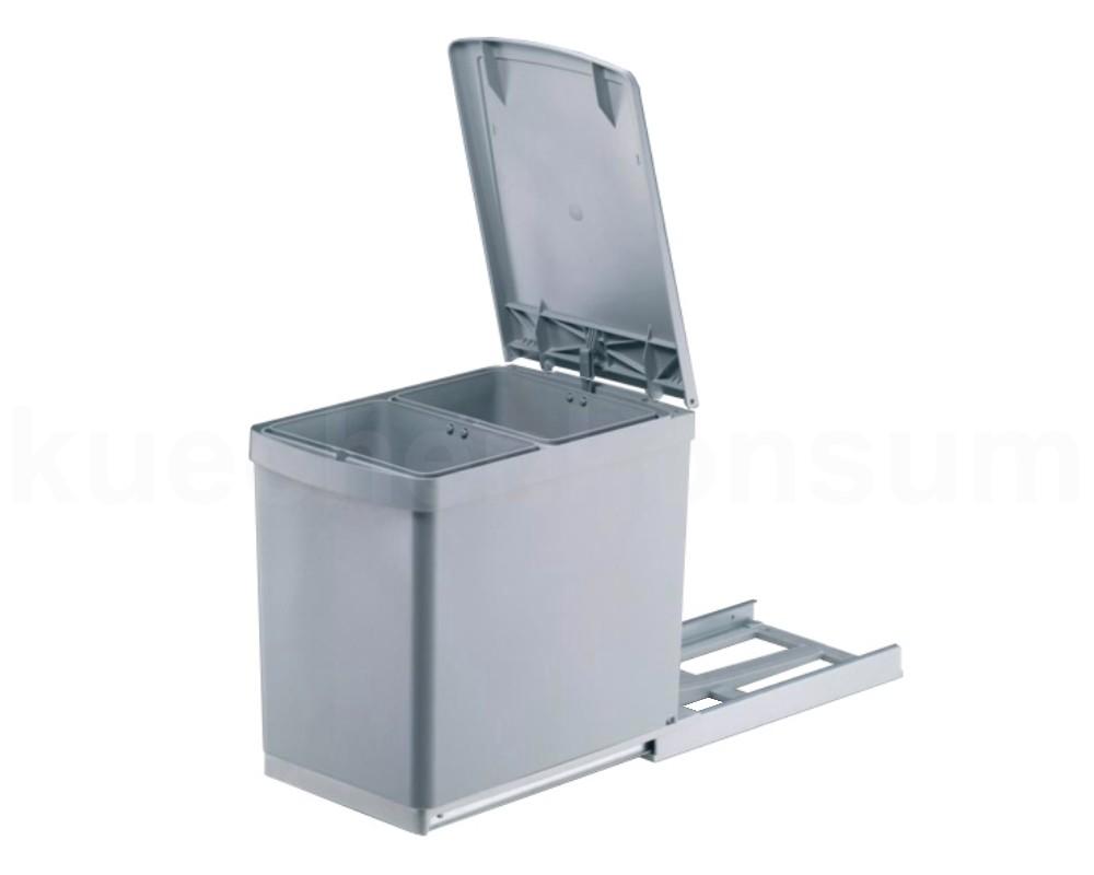Abfallsammler 30 DT grau Deckelheben 2 fach Abfalleimer Küchen ...
