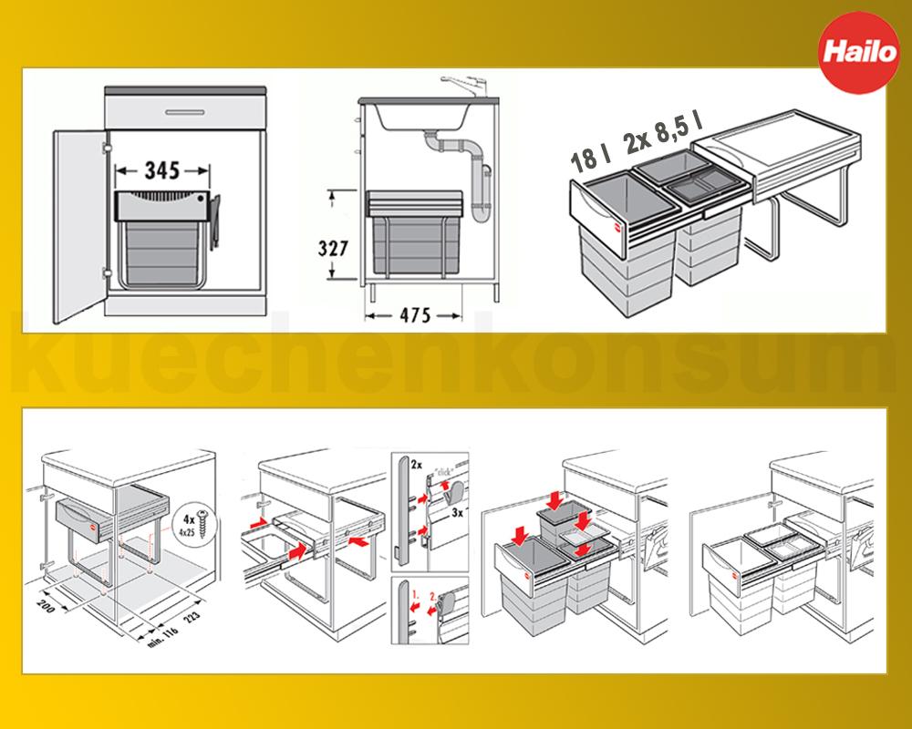hailo abfallsammler 3 m lleimer m lltrennung einbau abfalleimer raumspar tandem kaufen bei. Black Bedroom Furniture Sets. Home Design Ideas