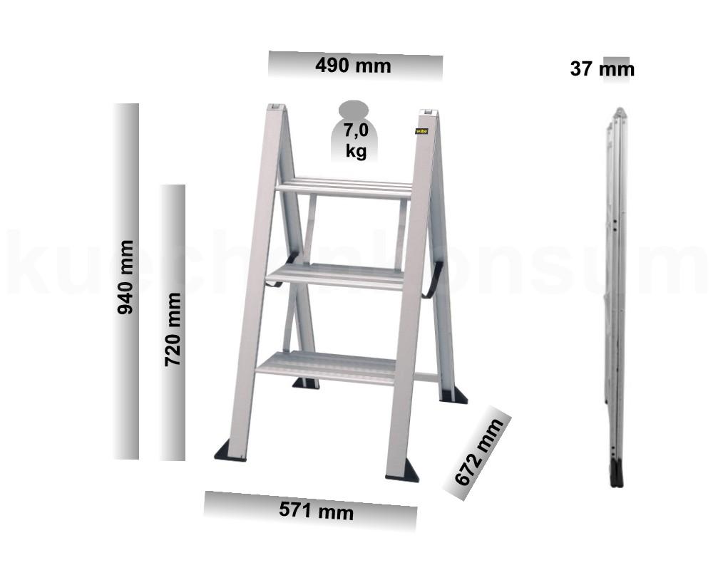Vikingstep 3 Maxi 72 Leiter Aluminiumleiter Trittleiter Kuchenleiter