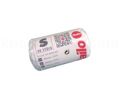 40 Müllbeutel S PE Beutel Müllsack mit Griff für Hailo Abfallsammler transparent