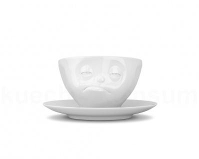 Kaffee-Tasse Untertasse Henkel Motiv verpennt weiß Teetasse Gesichtstasse TV