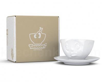 Kaffee-Tasse Untertasse Henkel Motiv Och Bitte weiß Teetasse Gesichtstasse TV - Vorschau 5