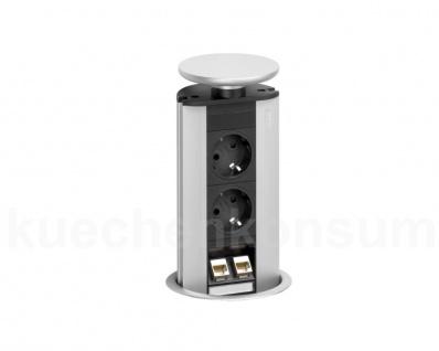 EVOline Port silber Data 2fach + 2 VDE senkrecht versenkbare Steckdose Powerport