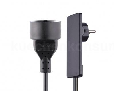 Evoline Plug Flachstecker beweglich Anschlusskabel mit Kupplungsdose schwarz