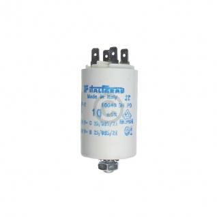 Kondensator 10, 00µF 450V Universal mit Steckfahnen und Befestigungsschraube