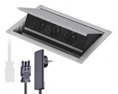 Klappsteckdose Einbau PowerFit K 3 fach EVOline Plug PowerPort Versenksteckdose