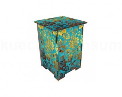 Werkhaus Photohocker Blüten blau-gold Beistelltisch Tritt Nachtschränkchen 8203