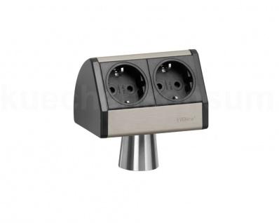 Inselsteckdose 2fach EVOline T-Dock Küchensteckdose Mehrfachsteckdose Aluminium
