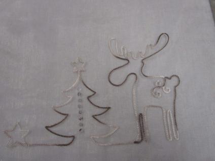 Tischläufer 150x45 cm Weihnachtsmotiv Rentier olive-cremefarbig transparent