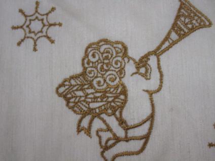 Tischdecke Mitteldecke 85x85 cm Weihnachtsmotiv Engel cremefarbig gold bestickt