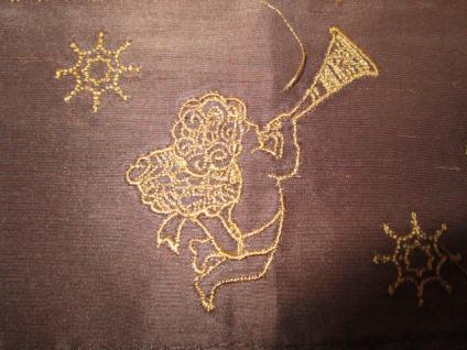 Tischläufer 145x45 cm Weihnachtsmotiv Engel braun-gold