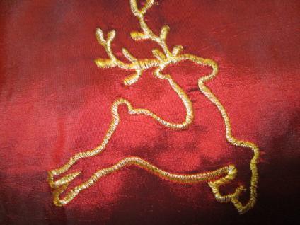 Tischläufer 150x45cm Weihnachtsmotiv Hirsch rot-gold transparent
