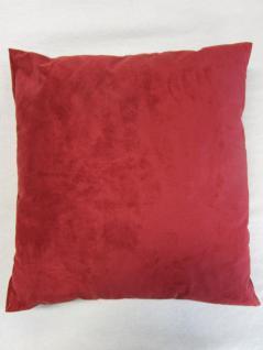 Kissen in Alcantara-Look 40x40 cm komplett mit Faserkugel-Füllung Farbe Rot