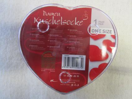 Socken Kuschelsocken für Damen Einheitsgröße (36-43) rot-weiß mit Herz - Vorschau 4