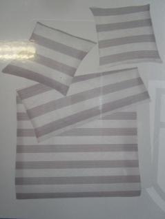 Bettwäsche 155x220 cm Mako-Satin 100% Baumwolle Garnitur Basefield Kamina Querstreifen grau - Vorschau 3