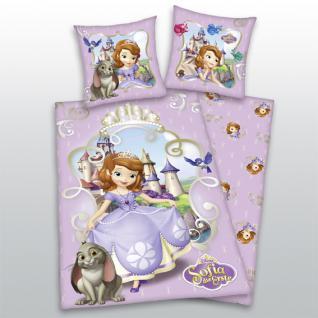 """Kinder Bettwäsche 135x200 + 80x80 cm """" Sofia die Erste"""" von Walt Disney mit Reißverschluß von Herding"""